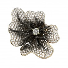 Diamond Cocktail Ring Yellow Gold 5.57CT Micro Pave' & Prong