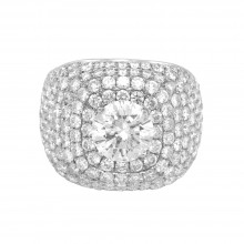 Diamond Cocktail Ring White Gold 2.69 CT CDI 2.5CT Micro Pave' & Prong
