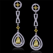 White & Yellow Canary Diamond Teardrop Earrings White 18K Gold .64 ct., 0.09 ct. & 0.24 ct. Pave' & Prong 7.14 g
