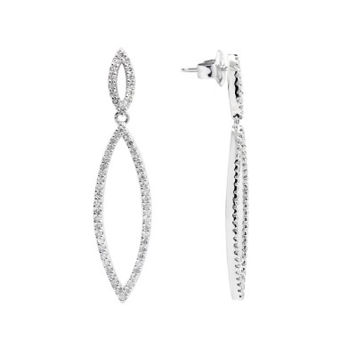 Diamond Hoop Earrings White Gold S.C 0.43 Micro Pave'
