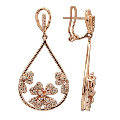 Diamond Earrings Rose Gold S.C 0.67ct Micro Pave'