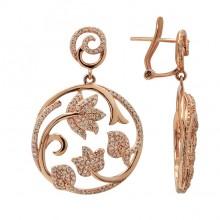 Diamond Earrings Rose Gold S.C 0.91ct Micro Pave'