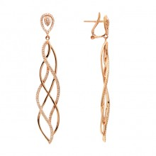 White Diamond Earrings Rose Gold SCD 0.60ct Micro Pave'