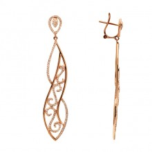 White Diamond Earrings Rose Gold SCD 0.84ct Micro Pave'