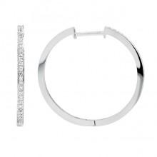 Diamond Hoop Earrings White 14K Gold D 0.13ct 52 stones Micro Pave' 2.74g