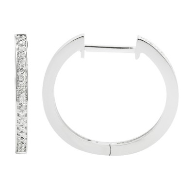Diamond Hoop Earrings White 14K Gold 0.1ct 38 stones Micro Pave' 2.27g