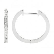 Diamond Hoop Earrings White 14K Gold 0.1ct 38 stones Micro Pave' 2.27g