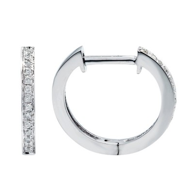 Diamond Hoop Earrings White 14K Gold 0.07ct 28 stones Micro Pave' 1.57g