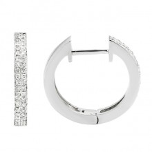 Diamond Hoop Earrings White 14K Gold 0.2ct 80 stones Micro Pave' 2.69g
