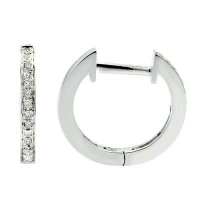 Diamond Hoop Earrings White 14K Gold 0.08ct 30 stones Micro Pave' 1.67g