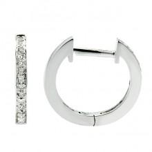 Diamond Hoop Earrings White 14K Gold 0.08ct 30 stones Micro Pave' 1.67g