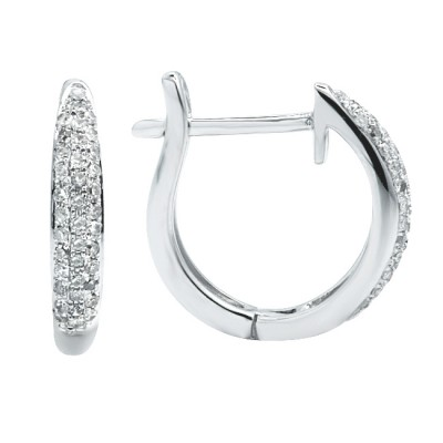 Diamond Hoop Earrings White 14K Gold 0.19ct 78 stones Micro Pave' 2.21g