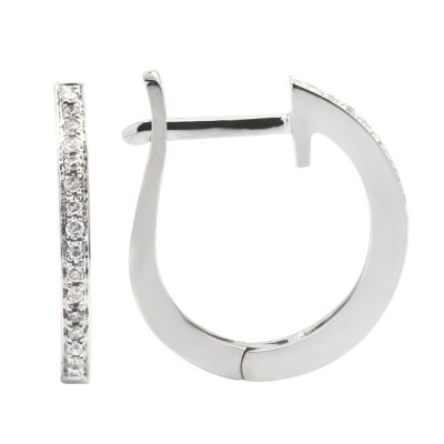 Diamond Hoop Earrings White 14K Gold 0.08ct 32 stones Micro Pave' 1.66g