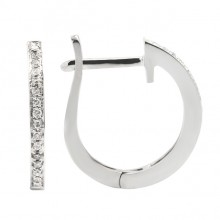 Diamond Hoop Earrings White 14K Gold 0.08ct 32 stones Micro Pave' 1.66g