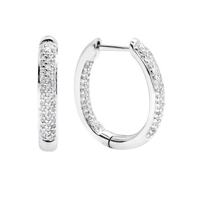 Diamond Hoop Earrings White Gold S.C 0.49ct Micro Pave'
