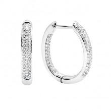 Diamond Hoop Earrings White Gold S.C 0.49ct Micro Pave'