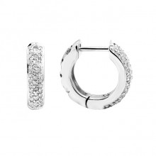 Diamond Hoop Earrings White Gold S.C. 0.24ct Micro Pave'