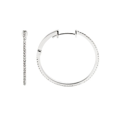Diamond Hoop Earrings White Gold S.C 0.31ct Micro Pave'