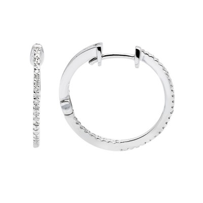 Diamond Hoop Earrings White Gold S.C 0.11ct Micro Pave'