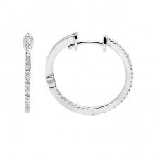 Diamond Hoop Earrings White Gold S.C 0.11ct Micro Pave'