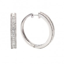 Diamond Hoop Earrings White Gold D 1.05ct S.C. 0.48ct Micro Pave'