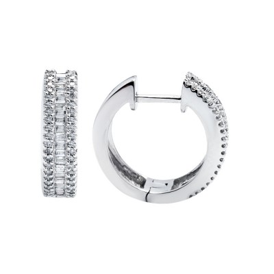 Diamond Hoop Earrings White Gold D 0.30ct S.C. 0.23ct Micro Pave'