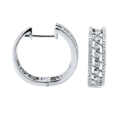 Diamond Hoop Earrings White & Rose Gold D 0.23ct SCD 0.27ct Micro Pave'