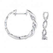 Diamond Hoop Earrings White & Rose & Yellow Gold SCD 0.30ct Micro Pave'