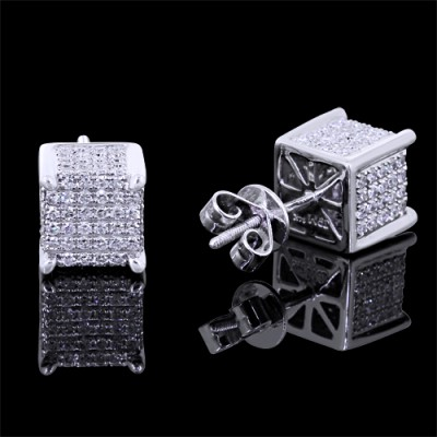 Diamond Stud Earrings White 14K Gold 1.41 ct Pave 4.6 g