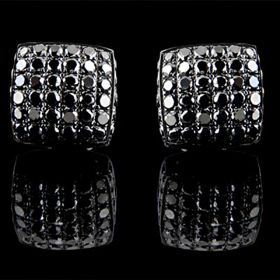 Black Diamond Stud Earrings Black Silver 8.61 ct Pave' 5 g