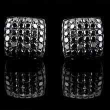 Black Diamond Stud Earrings Black Silver 8.61 ct Pave' 5 g