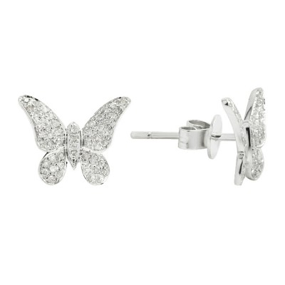 Diamond Stud Earrings White 14K Gold D. 0.18ct 100 stones Micro Pave' 1.42g