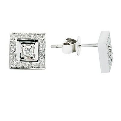 Diamond Stud Earrings White 14K Gold 0.1ct 40 stones Micro Pave' 1.92g