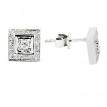 Diamond Stud Earrings White 14K Gold 0.1ct 40 stones Micro Pave' 1.92g