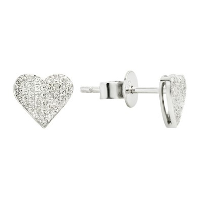 Diamond Stud Earrings White 14K Gold 0.14ct 84 stones Micro Pave' 1.13g
