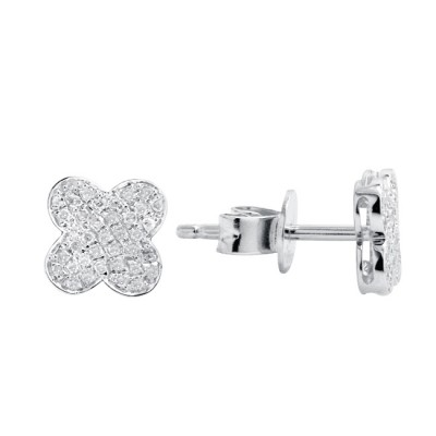 Diamond Stud Earrings White 14K Gold 0.14ct 76 stones Micro Pave' 1.26g