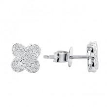 Diamond Stud Earrings White 14K Gold 0.14ct 76 stones Micro Pave' 1.26g