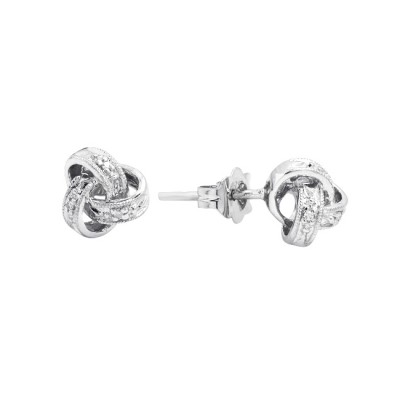 Diamond Stud Earrings White Gold S.C 0.02 Micro Pave'