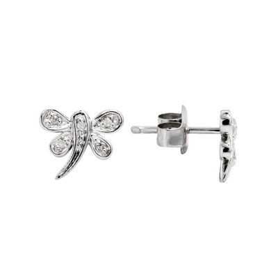 Diamond Stud Earrings White Gold S.C 0.03 Micro Pave'