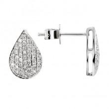 Diamond Stud Earrings White 14K Gold D 0.23ct 92 stones Micro Pave' 1.5g