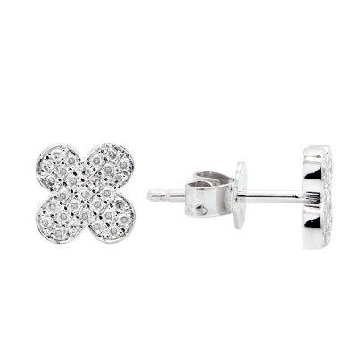 Diamond Stud Earrings White 14K Gold D 0.14ct 58 Stones Micro Pave' 1.33g