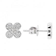 Diamond Stud Earrings White 14K Gold D 0.14ct 58 Stones Micro Pave' 1.33g
