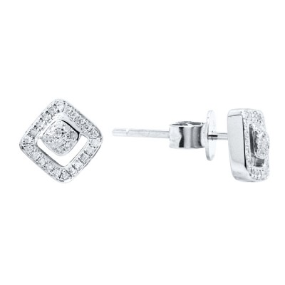 Diamond Stud Earrings White 14K Gold D 0.13ct 68 Stones Micro Pave' 1.31g