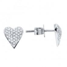 Diamond Stud Earrings White 14K Gold D 0.21ct 86 Stones Micro Pave' 1.18g
