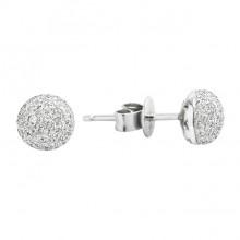 Diamond Stud Earrings White 14K Gold D 0.26ct 108 Stones Micro Pave' 1.35g
