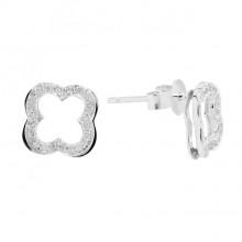 Diamond Stud Earrings White 14K Gold D 0.13ct 52 Stones Micro Pave' 1.55g