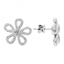 Diamond Stud Earrings White 14K Gold D 0.36ct 150 Stones Micro Pave' 2.76g