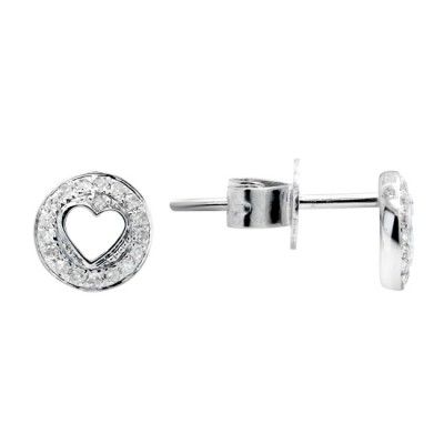 Diamond Stud Earrings White 14K Gold D 0.07ct 36 Stones Micro Pave' 0.87g