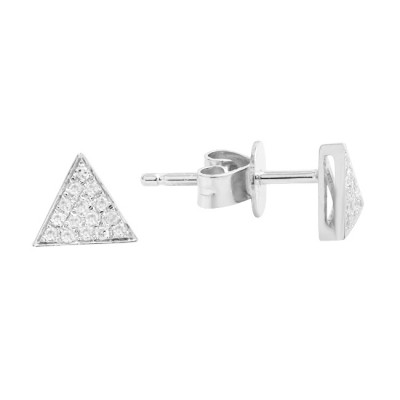 Diamond Stud Earrings White 14K Gold D 0.06ct 30 Stones Micro Pave' 0.78g