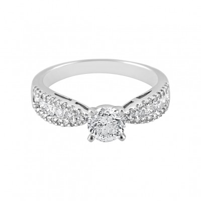 Diamond Engagement Ring White Gold DI .55CT CDI .78CT Micro Pave' & Prong 3.0 Gr
